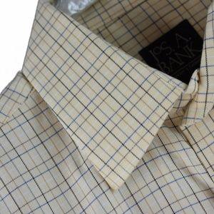 Jos A Bank Beige Plaid Men's Dress Shirt Medium LS